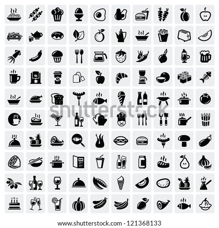vector black food icons set on...