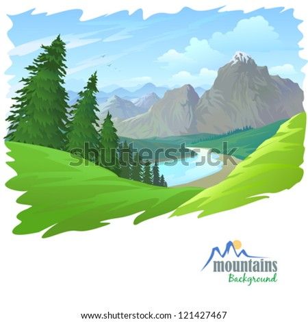 pine trees   mountains and