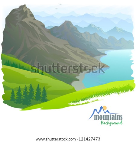 mountain range   river and