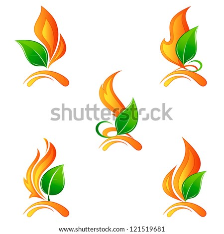 set a flame of fire with leaves
