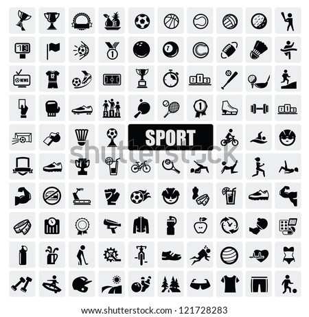 vector black sports icons set