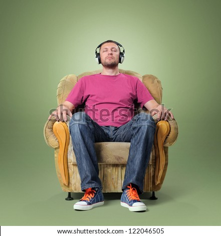 man listening to relaxing music