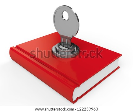 closed red book with lock on a
