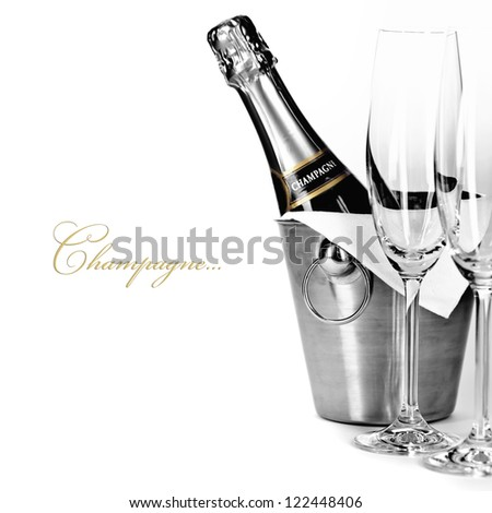 champagne bottle in cooler and