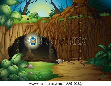 illustration of a cave in the