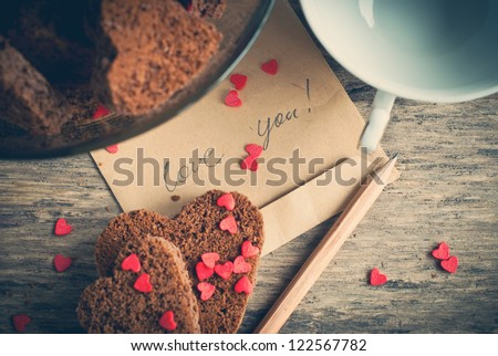 card with message love you on