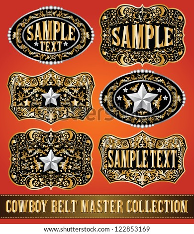 cowboy belt buckle vector