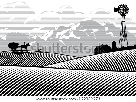 silhouette of farmer riding a