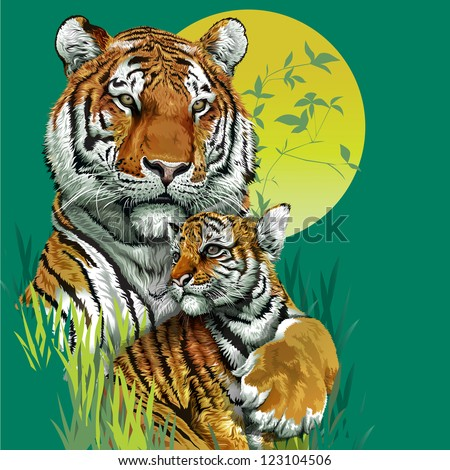 tiger family in jungle vector