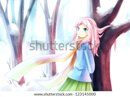 anime girl standing in a snowy