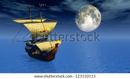 ship with moon background
