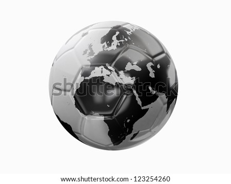 a soccer ball with world texture