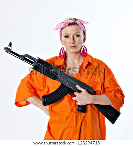 dangerous young woman in orange