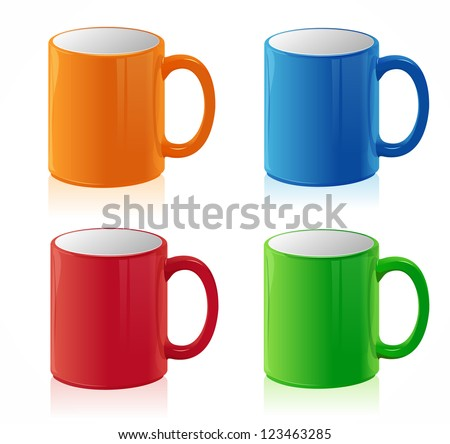 vector coffee cups set on white