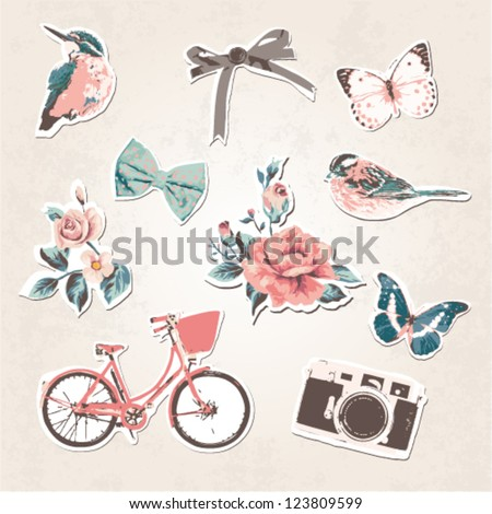 vintage things set birds bows