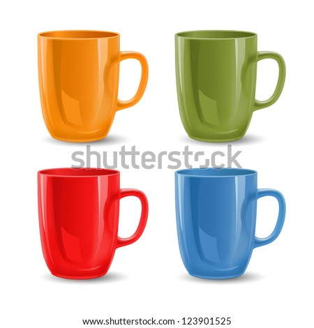 set of colored mugs  vector