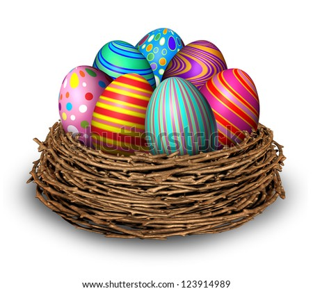 easter eggs nest holiday symbol