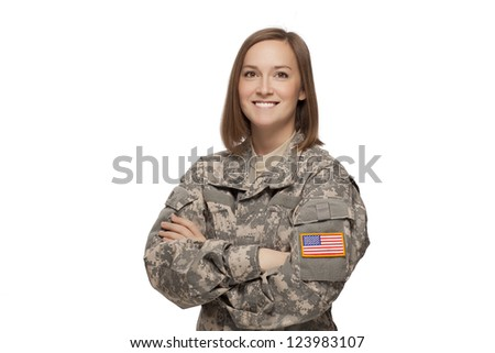 military female with her arms