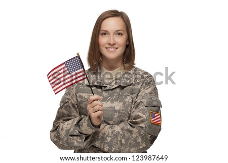 female soldier holding an
