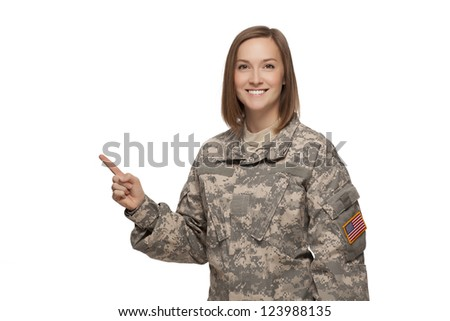female soldier pointing up