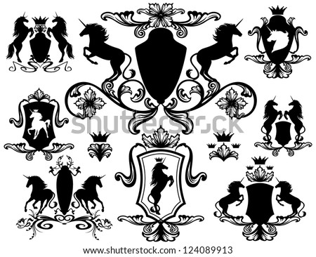 set of heraldic design elements