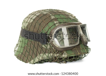 camouflaged helmet with