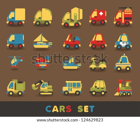 colorful car set  vector
