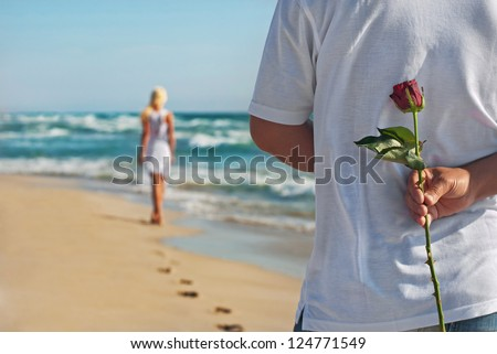 loving couple  man with rose
