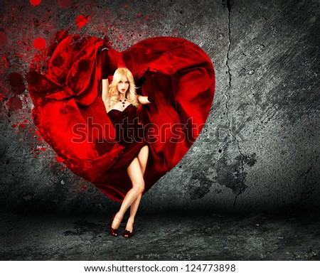 woman with splashing heart on