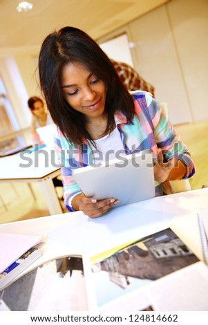 student girl using electronic