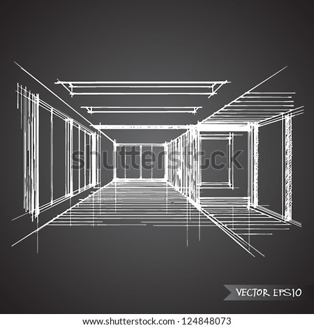 empty room of interior vector