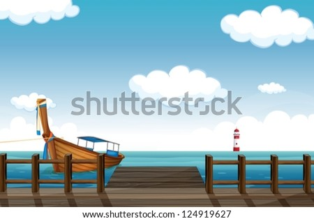 illustration of a docked boat