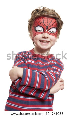 young boy with face painting