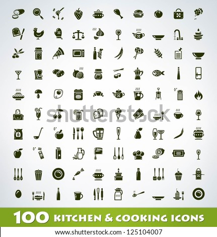 mega food and cooking icon set