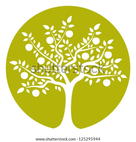 vector apple tree isolated on