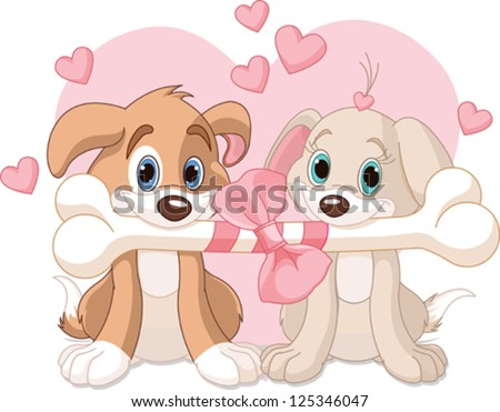 two valentine dogs holding