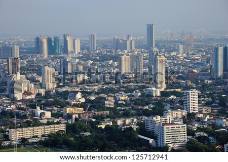 bangkok city bird's eye view in