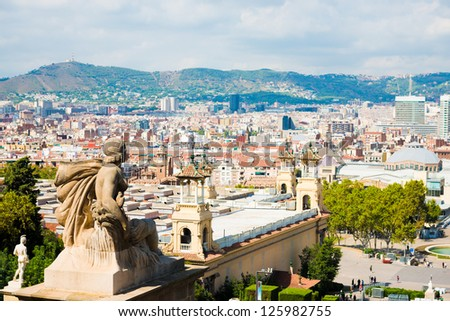 aerial view of barcelona from