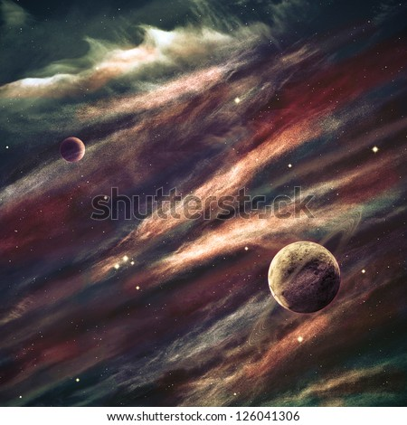 planets over the nebulae in