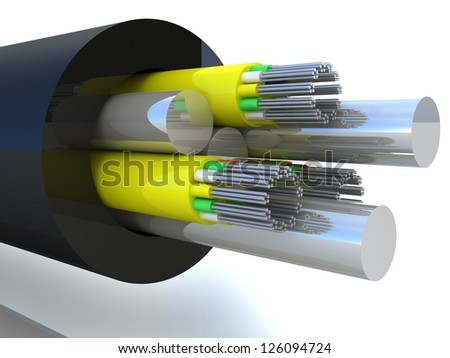 3d rendering of an optic fiber