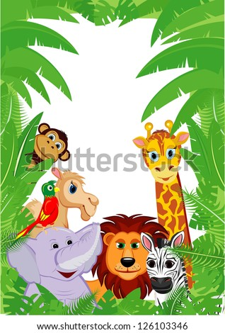 jungle animals frame with copy