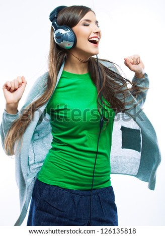 woman with headphones listening