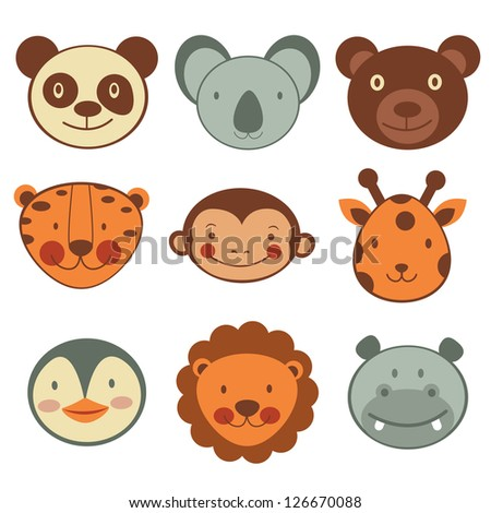 animal head icons collection