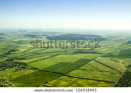 aerial view of a green rural