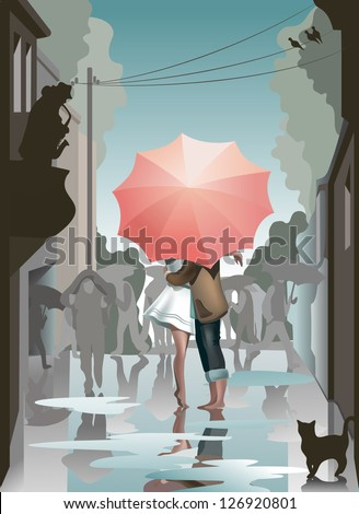 lovers under umbrella