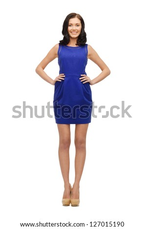 picture of lovely woman in blue