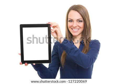 woman showing tablet computer