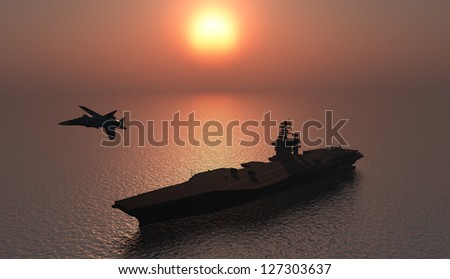 silhouette of military aircraft