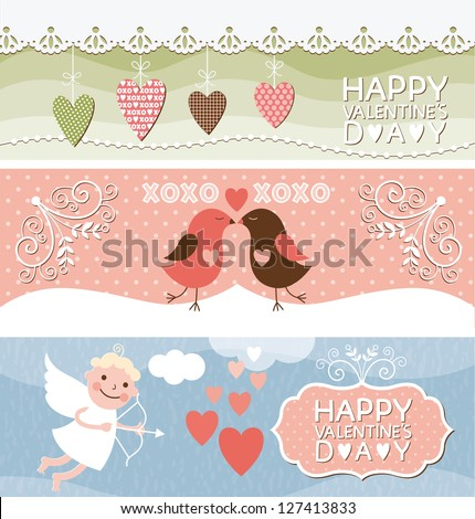 set of horizontal valentine