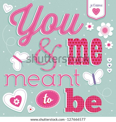 vector love card with vintage